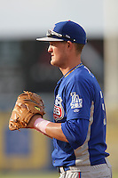May 9, 2010: Austin Gallagher of the Inland Empire 66'ers during game against the Lancaster JetHawks at Clear Channel Stadium in Lancaster,CA.  Photo by Larry Goren/Four Seam Images