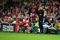 Ryan Giggs manager of Wales watches on during the UEFA Nations League B match between Wales and Ireland at Cardiff City Stadium in Cardiff, Wales, UK.September 6, 2018