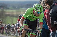 Sep Vanmarcke (BEL Cannondale-Drapac Pro Cycling Team) on top of the Paterberg<br /> <br /> 72nd Dwars Door Vlaanderen (1.UWT)<br /> 1day race: Roeselare › Waregem BEL (203.4km)72nd Dwars Door Vlaanderen (1.UWT)<br /> 1day race: Roeselare › Waregem BEL (203.4km)