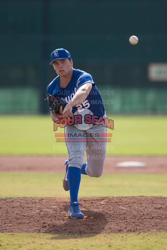 Kansas City Royals starting pitcher Daniel Tillo (25) follows through on his delivery during an Instructional League game against the San Francisco Giants at the Giants Training Complex on October 17, 2017 in Scottsdale, Arizona. (Zachary Lucy/Four Seam Images)