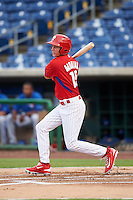 GCL Phillies center fielder Mickey Moniak (15) at bat during a game against the GCL Blue Jays on August 16, 2016 at Bright House Field in Clearwater, Florida.  GCL Blue Jays defeated GCL Phillies 2-1.  (Mike Janes/Four Seam Images)