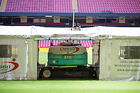 A Desso GrassMaster machine stitches together artificial fibre into fresh roots of grass at the Millennium Stadium, Cardiff, United Kingdom. 7th October 2014