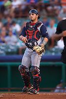 Brooklyn Cyclones catcher Brandon Brosher (18) during a game against the Tri-City ValleyCats on September 1, 2015 at Joseph L. Bruno Stadium in Troy, New York.  Tri-City defeated Brooklyn 5-4.  (Mike Janes/Four Seam Images)