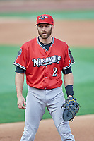Steve Lombardozzi (2) of the Nashville Sounds during the game against the Salt Lake Bees at Smith's Ballpark on July 27, 2018 in Salt Lake City, Utah. The Bees defeated the Sounds 8-6. (Stephen Smith/Four Seam Images)