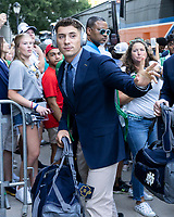ATHENS, GA - SEPTEMBER 21: Ian Book #12 of the Notre Dame Fighting Irish arrives prior to the game during a game between Notre Dame Fighting Irish and University of Georgia Bulldogs at Sanford Stadium on September 21, 2019 in Athens, Georgia.