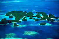 Aerial photograph of the Rock Islands, Republic of Palau, Micronesia.