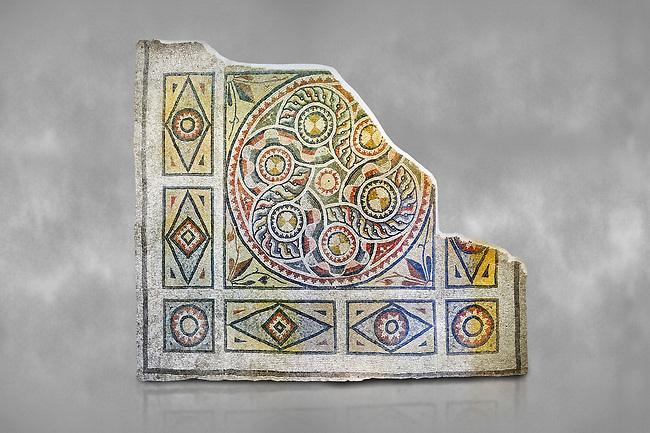 Roman mosaics - Geometric Mosaic. The Giyoslu Villa. Ancient Zeugama, 2nd - 3rd century AD . Zeugma Mosaic Museum, Gaziantep, Turkey.  Against a grey background.
