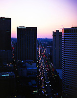 aerial photograph of Canal Street, New Orleans, Louisiana at dusk
