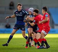 9th September 2020; AJ Bell Stadium, Salford, Lancashire, England; English Premiership Rugby, Sale Sharks versus Sracens; Curtis Langdon of Sale Sharks is tackled