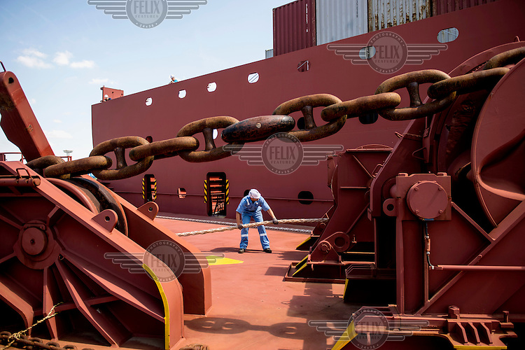 Mooring lines are secured onboard the Mary Maersk, the largest container ship in the world.