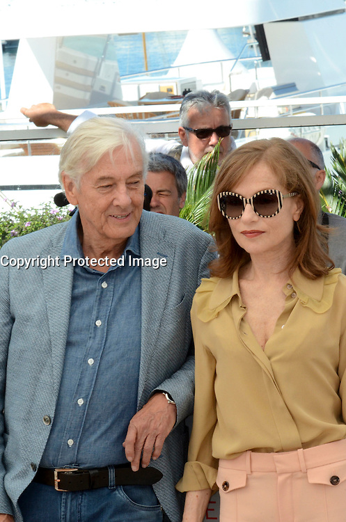 Paul Verhoeven Isabelle Huppert attends the 'Elle' Photocall during the 69th annual Cannes Film Festival at the Palais des Festivals on May 21, 2016 in Cannes, France.