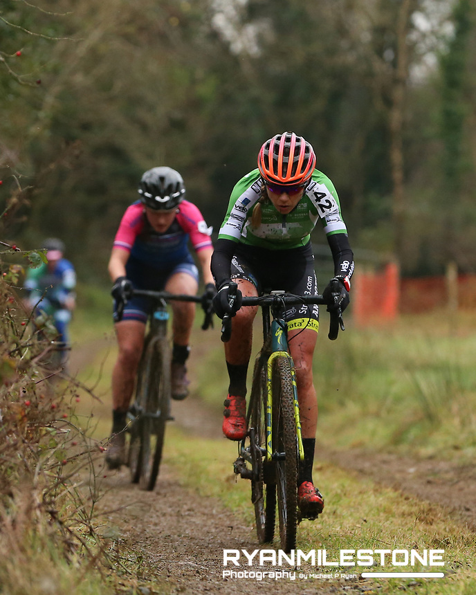 EVENT:<br /> Round 5 of the 2019 Munster CX League<br /> Drombane Cross<br /> Sunday 1st December 2019,<br /> Drombane, Co Tipperary<br /> <br /> CAPTION:<br /> Grace Young of STRATA3/Velo Revolution Racing Team in action during the women's Race<br /> <br /> Photo By: Michael P Ryan