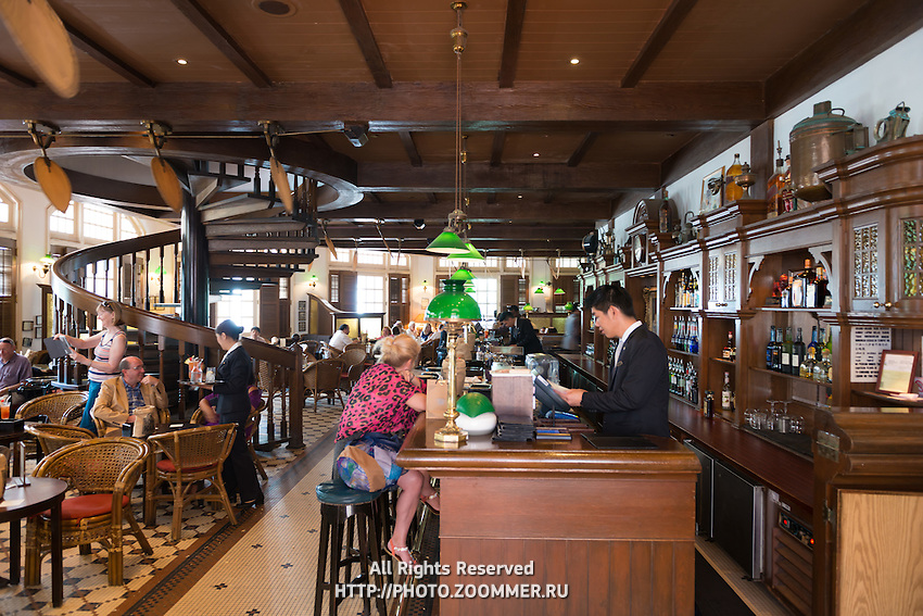 Interior of the famous Long Bar In Raffles hotel, Singapore