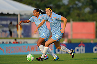 Rosana (11) and Yael Averbuch (13) of Sky Blue FC. The Philadelphia Independence defeated Sky Blue FC 4-1 during a Women's Professional Soccer (WPS) match at Yurcak Field in Piscataway, NJ, on June 19, 2010.