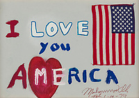 BNPS.co.uk (01202) 558833.<br /> Pic: Bonhams/BNPS<br /> <br /> Pictured: Ali's 'I love you America' picture sold for £110,347<br /> <br /> Packs a punch..<br /> <br /> Incredibly rare art work by Muhammad Ali has sold for almost £700,000 ($945,000) following a bidding war.<br /> <br /> The legendary heavyweight boxer was a passionate artist and produced a series of works documenting key milestones in his life.<br /> <br /> They proved a knock-out success with collectors, with some examples going for up to 10 times their pre-sale estimate.