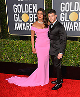 LOS ANGELES, USA. January 06, 2020: Priyanka Chopra & Nick Jonas arriving at the 2020 Golden Globe Awards at the Beverly Hilton Hotel.<br /> Picture: Paul Smith/Featureflash