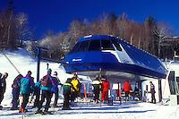 skiing, ski lift, winter, Warren, VT, Vermont, Skiers waiting in line at the quad chair lift at Sugarbush Ski Resort in Warren in winter.