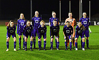 Anderlecht players with Tessa Wullaert , Tine De Caigny , Michelle Colson , Lowiese Seynhaeve , Laura De Neve , Amber Maximus , Louise Wijns , Charlotte Tison , Laura Deloose , Stefania Vatafu and Sakina Ouzraoui Diki pictured posing for the photographer during a female soccer game between RSC Anderlecht Dames and Sporting Charleroi on the 13 th matchday of the 2020 - 2021 season of Belgian Womens Super League , friday 5 th of February 2021  in Tubize , Belgium . PHOTO SPORTPIX.BE | SPP | DAVID CATRY