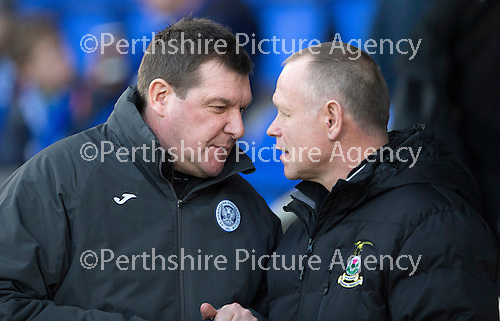 St Johnstone v Inverness Caledonian Thistle...20.12.14   SPFL<br /> Tommy Wright and Yogi Hughes talk before kick off<br /> Picture by Graeme Hart.<br /> Copyright Perthshire Picture Agency<br /> Tel: 01738 623350  Mobile: 07990 594431