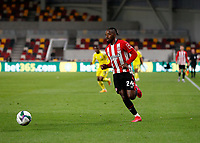 1st October 2020; Brentford Community Stadium, London, England; English Football League Cup, Carabao Cup Football, Brentford FC versus Fulham; Tariqe Fosu of Brentford chases a through ball