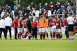 Arbroath v St Johnstone…15.08.21  Gayfield Park      Premier Sports Cup<br />Dick Campbell talks with his players after extra time<br />Picture by Graeme Hart.<br />Copyright Perthshire Picture Agency<br />Tel: 01738 623350  Mobile: 07990 594431