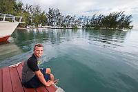 Honduras, Roatan Island, Fantasy Island Resort, Caribbean. Robin, dive master at Fantasy Island Dive shop.
