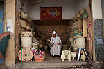BAGHDAD, IRAQ: An Egyptian man sells wicker goods in the old Shorja market in Baghdad...Despite an increase in violence across Iraq, daily life continues as normal in Baghdad...Photo by Ali Arkady/Baghdad