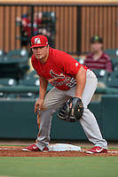 Palm Beach Cardinals first baseman Luke Voit (25) holds a runner on during a game against the Lakeland Flying Tigers on April 13, 2015 at Joker Marchant Stadium in Lakeland, Florida.  Palm Beach defeated Lakeland 4-0.  (Mike Janes/Four Seam Images)