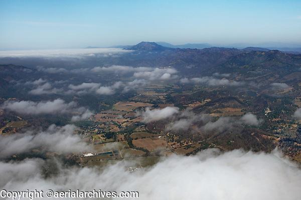 aerial photograph of northern Napa Valley, Napa County, California toward Mount St. Helena