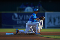 Myrtle Beach Pelicans shortstop Aramis Ademan (11) applies a tag to Steele Walker (6) of the Winston-Salem Dash as he attempts to steal second base at TicketReturn.com Field on May 16, 2019 in Myrtle Beach, South Carolina. The Dash defeated the Pelicans 6-0. (Brian Westerholt/Four Seam Images)