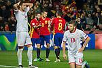 Spain's  Dani Carvajal Vitolo Machin Koke Resurreccion during the match of European qualifying round between Spain and Macedonia at Nuevo Los Carmenes Stadium in Granada, Spain. November 12, 2016. (ALTERPHOTOS/Rodrigo Jimenez)
