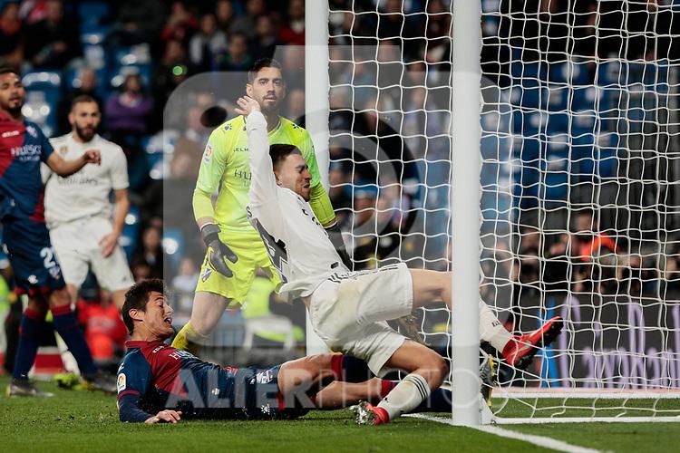 Real Madrid's Dani Ceballos scores goal during La Liga match between Real Madrid and SD Huesca at Santiago Bernabeu Stadium in Madrid, Spain. March 31, 2019. (ALTERPHOTOS/A. Perez Meca)