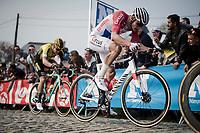Mathieu Van Der Poel (NED/Correndon-Circus) in the final ascent up the Paterberg<br /> <br /> 103rd Ronde van Vlaanderen 2019<br /> One day race from Antwerp to Oudenaarde (BEL/270km)<br /> <br /> ©kramon