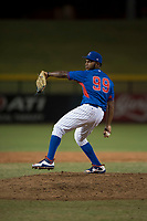 AZL Cubs relief pitcher Andry Rondon (99) delivers a pitch during an Arizona League game against the AZL Brewers at Sloan Park on June 29, 2018 in Mesa, Arizona. The AZL Cubs 1 defeated the AZL Brewers 7-1. (Zachary Lucy/Four Seam Images)