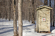 First Aid Cache in Crawford Notch State Park during the winter months in the White Mountains, New Hampshire USA