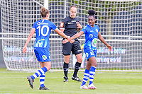 Chloe Vande Velde (10) of AA Gent and Lakeesha Eikjken (7) of AA Gent pictured during a female soccer game between AA Gent Ladies and Oud Heverlee Leuven on the fourth matchday of play off 1 in the 2020 - 2021 season of Belgian Scooore Womens Super League , saturday 1 st of May 2021  in Oostakker , Belgium . PHOTO SPORTPIX.BE | SPP | STIJN AUDOOREN