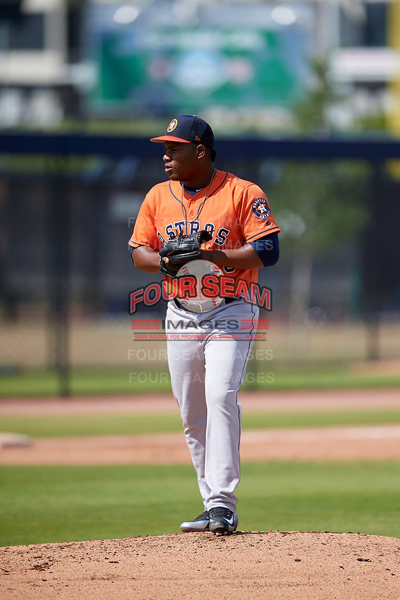 Houston Astros pitcher Framber Valdez (28) during a Minor League Spring Training Intrasquad game on March 28, 2018 at FITTEAM Ballpark of the Palm Beaches in West Palm Beach, Florida.  (Mike Janes/Four Seam Images)