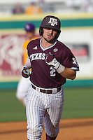 Texas A&M Aggies second baseman Ryne Birk (2) rounds the bases following his home run during the Southeastern Conference baseball game against the LSU Tigers on April 25, 2015 at Alex Box Stadium in Baton Rouge, Louisiana. Texas A&M defeated LSU 6-2. (Andrew Woolley/Four Seam Images)