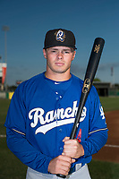 Rancho Cucamonga Quakes shortstop Gavin Lux (14) poses for a photo before a California League game against the Stockton Ports at Banner Island Ballpark on May 16, 2018 in Stockton, California. (Zachary Lucy/Four Seam Images)