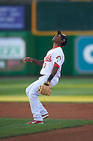Peoria Chiefs second baseman Darren Seferina (3) gets under a popup during a game against the Wisconsin Timber Rattlers on August 21, 2015 at Dozer Park in Peoria, Illinois.  Wisconsin defeated Peoria 2-1.  (Mike Janes/Four Seam Images)