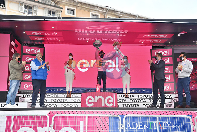 Race leader Egan Bernal (COL) Ineos Grenadiers retains the Maglia Rosa at the end of Stage 15 of the 2021 Giro d'Italia, running 147km from Grado to Gorizia, Italy and Slovenia. 23rd May 2021.  <br /> Picture: LaPresse/Massimo Paolone   Cyclefile<br /> <br /> All photos usage must carry mandatory copyright credit (© Cyclefile   LaPresse/Massimo Paolone)