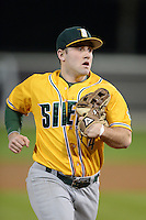 Siena Saints outfielder John Rooney (4) during the season opening game against the Central Florida Knights at Jay Bergman Field on February 14, 2014 in Orlando, Florida.  UCF defeated Siena 8-1.  (Mike Janes/Four Seam Images)