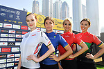 The race leaders jerseys on display at sign on before the  start of Stage 5 The Meraas Stage final stage of the Dubai Tour 2018 the Dubai Tour's 5th edition, running 132km from Skydive Dubai to City Walk, Dubai, United Arab Emirates. 10th February 2018.<br /> Picture: LaPresse/Massimo Paolone | Cyclefile<br /> <br /> <br /> All photos usage must carry mandatory copyright credit (© Cyclefile | LaPresse/Massimo Paolone)