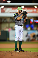Daytona Tortugas relief pitcher Ryan Hendrix (21) looks in for the sign during a game against the Jupiter Hammerheads on April 13, 2018 at Jackie Robinson Ballpark in Daytona Beach, Florida.  Daytona defeated Jupiter 9-3.  (Mike Janes/Four Seam Images)