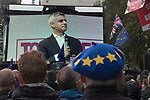 Sadiq Khan the Mayor of London attends the Peoples Vote Campaign demonstration TV screen screen in Parliament Square. Brexit Super Saturday 19 October 2019  London UK.