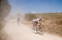 Joris Nieuwenhuis (NED/Sunweb) emerging out of the dust<br /> <br /> 14th Strade Bianche 2020<br /> Siena > Siena: 184km (ITALY)<br /> <br /> delayed 2020 (summer!) edition because of the Covid19 pandemic > 1st post-Covid19 World Tour race after all races worldwide were cancelled in march 2020 by the UCI