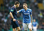 Celtic v St Johnstone...23.01.16   SPFL  Celtic Park, Glasgow<br /> An angry Steven MacLean has words with Ref Kevin Clancy<br /> Picture by Graeme Hart.<br /> Copyright Perthshire Picture Agency<br /> Tel: 01738 623350  Mobile: 07990 594431