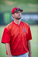 AZL Angels pitching coach John Slusarz during the game against the AZL White Sox on August 14, 2017 at Diablo Stadium in Tempe, Arizona. AZL Angels defeated the AZL White Sox 3-2. (Zachary Lucy/Four Seam Images)