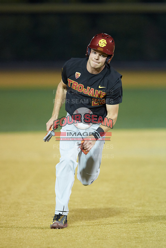 John Thomas (25) of the USC Trojans hustles towards third base against the Wake Forest Demon Deacons at David F. Couch Ballpark on February 24, 2017 in  Winston-Salem, North Carolina.  The Demon Deacons defeated the Trojans 15-5.  (Brian Westerholt/Four Seam Images)