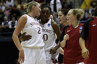 BERKELEY, CA - MARCH 30: Jayne Appel, Nneka Ogwumike, Lindy LaRocque, Michelle Harrison celebrate during Stanford's 74-53 win against the Iowa State Cyclones on March 30, 2009 at Haas Pavilion in Berkeley, California.